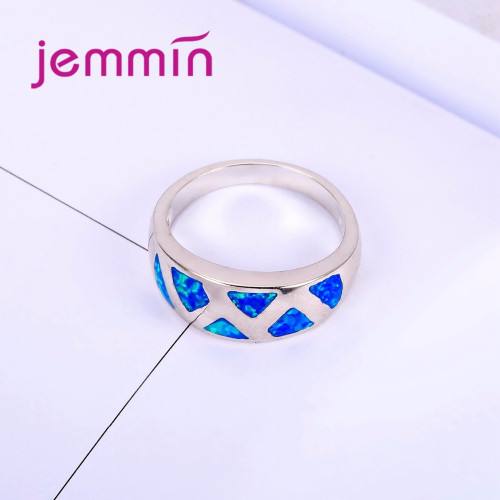 Jemmin Brand Simple Blue Opal Rings For Women And Men Fashion Wedding Party Finger Ring Accessory 925 Silver Anillos