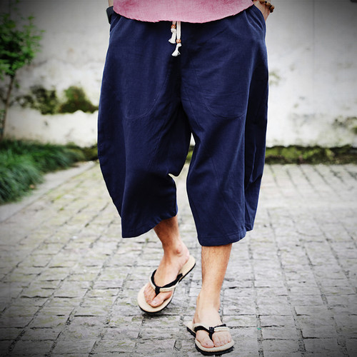 2018 summer new Chinese style linen loose thin section harem pants men's elastic waist strap fashion style pants large size