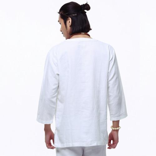 Spring 2018 linen shirt men casual Breathable white soft three quarter shirt man camisa masculina hot sale chemise homme TX55