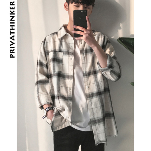 Privathinker Spring Oversized Long Sleeve Shirt Men Women Casual Plaid Flannel Burr Shirts Harajuku Male Strip Shirts