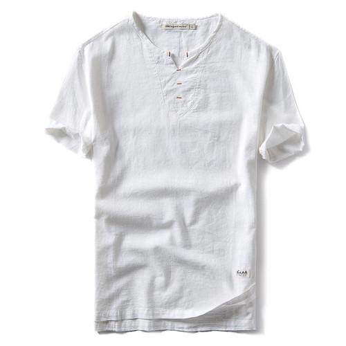 2018 New Summer Brand Shirt Men Short Sleeve Loose Thin Cotton Linen Shirt Male Fashion Solid Color Trend V-Neck Tees Hi-Q