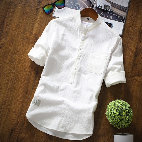 New Arrival Men's Shirts Fashion Summer Half Sleeve Shirts For Men Cotton Stand Collar Shirts Men Luxury Brand Clothing Hombre