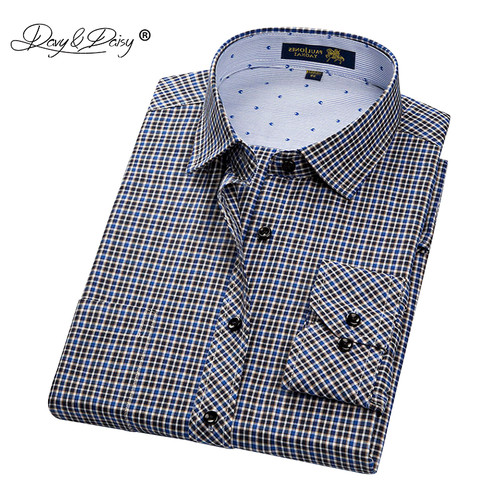 DAVYDAISY New Arrival Men Shirt Male Casual Shirt Men's Long Sleeved Striped Plaid Shirts Business Dress Shirts S-4XL DS179