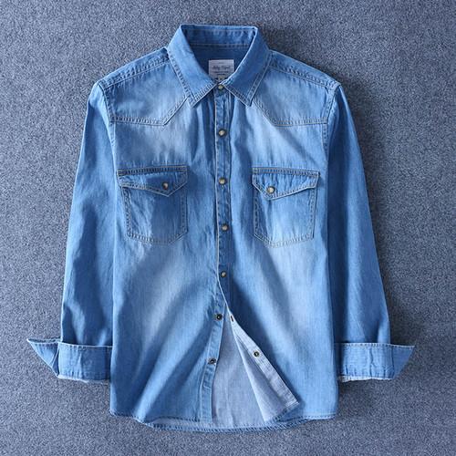 Spring Autumn Men Denim Thin Shirt Long Sleeve Soft 100% Cotton Two Pockets Slim Slight Elastic Jeans Cowboy 4XL Fast Shipping