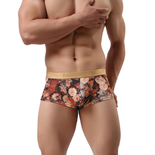 Male Underwear Sexy Men Boxer Underpant Cotton Male Panties Homme Flowers Printed Cueca Hot Sale Men's Boxers Underpant Sexy Gay