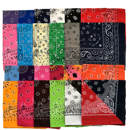 New 55CM*55CM 100% Cotton Black and White Red Skull and Paisley Bandana for Mens/Boys/Womens/Girls