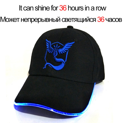 2018 New LED Light Pokemon Go Cap Hat Team Valor Team Instinct Pokemon Baseball Cap for Women Mens Fitted Hats Glow In The Dark