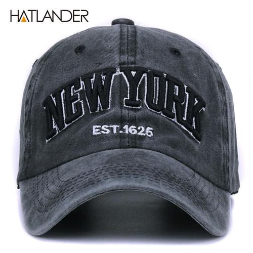 [HATLANDER]Sand washed 100% cotton baseball cap hat for women men vintage dad hat NEW YORK embroidery letter outdoor sports caps