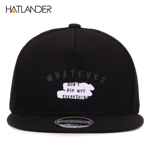 [HATLANDER]Solid Letter cotton baseball caps for men women outdoor sports hats 5panel hip hop cap casquette planas snapbacks cap