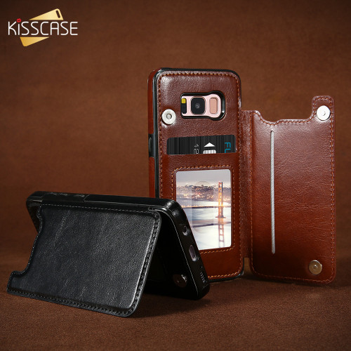 KISSCASE Leather Case For Samsung Galaxy S7 Edge S8 S9 Plus Case Wallet Cover Card Slot Stand Case For Samsung Note 8 S9 S8 Plus