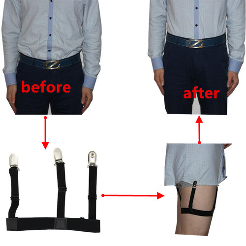 Mens Shirt Stays Garters Elastic Nylon Adjustable Shirt Holders Crease-Resistance Belt Stirrup Style Suspenders