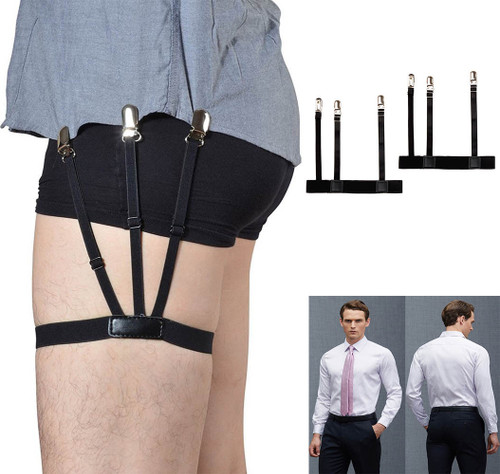 1 Pair Mens Adjustable Shirt Stay Belt with Non-slip Locking Clamps Elastic Nylon Adjustable Shirt Holders Crease-Resistance