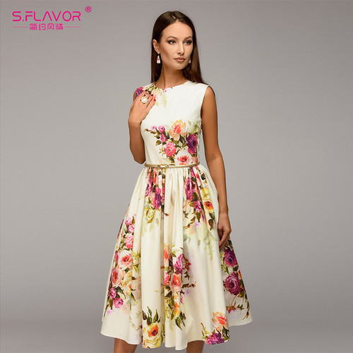 S.FLAVOR Lady party dress Hot sale Spring Summer women sleeveless flowers printing vestidos Elegant casual A-line dress No Belt