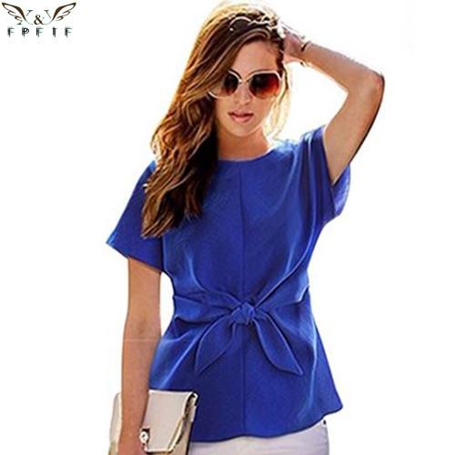 2018 fashion women kimono Bowknot blouses O-neck short sleeve shirts chiffon casual vintage tops plus size XXXXL blusas blouse