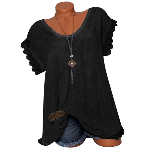 New Fashion Women Short Sleeve Lace Loose Blouse Tunic Casual Summer Clothes Blouses Hollow Out Shirts Femme Mujer Plus Size 4XL