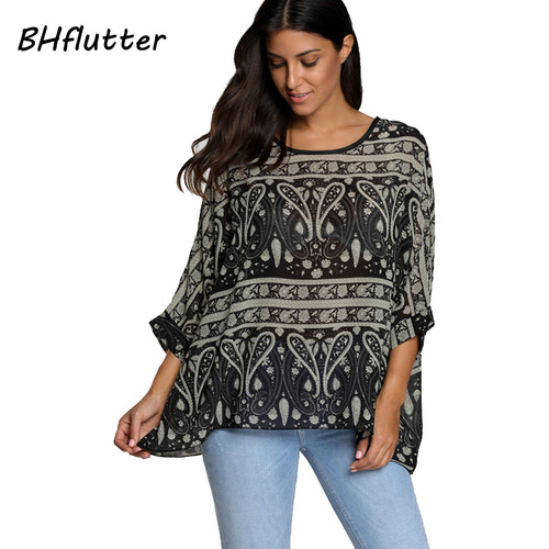 BHflutter Women Blouses Summer Tops Tees New Style 2018 Batwing Casual Chiffon Blouse Shirt 4XL 5XL 6XL Plus Size Women Clothing