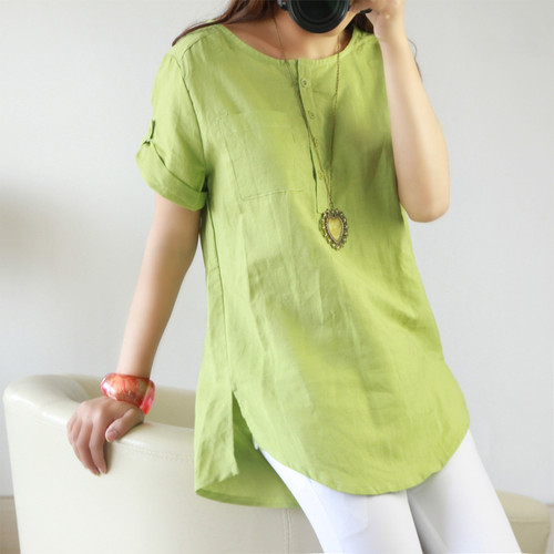 2017 Summer Cotton Linen Woman Blouse Short Sleeve Tops Female O-Neck Shirts Plus Size Blouses Large Size Camisas Femininas