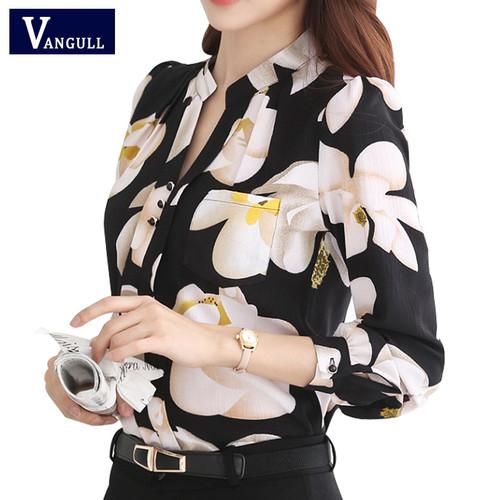VANGULL  New Style Lady White Shirts Formal Work Blouse Size  Korean Women Printed Shirts Chiffon Blouse Slim Fit Lady Shirts