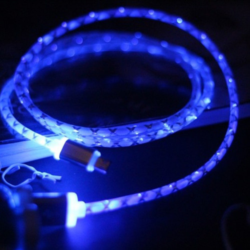 5V Glow LED Light Micro USB Cable Charger Adapter for Samsung Huawei Xiaomi Oppo HTC LG Android Phone Charge Adapters