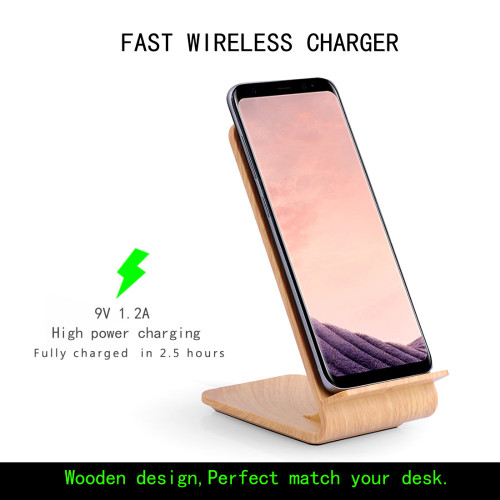 SCELTECH Wood Grain Fast Wireless Charger Quick Wireless Charging Stand for iPhoneX 8 8Plus Samsung Galaxy S6 S7 S8 edge/Note5