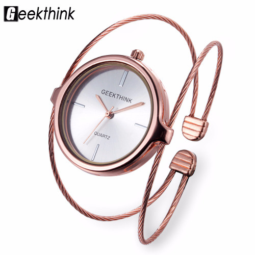 GEEKTHINK Unique Fashion Brand Quartz Watch Women Bracelet Ladies Rose Gold Watch female Luxury Double Ring steel band casual