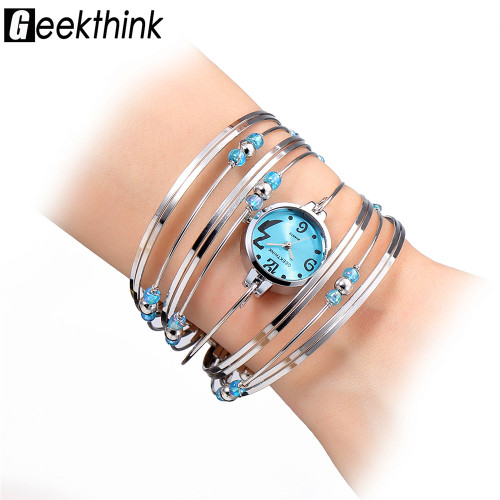 GEEKTHINK Brand Fashion Luxury Rhinestone Bracelet Watch Ladies Quartz Watch Casual Women Wristwatch Relogio Feminino 2018