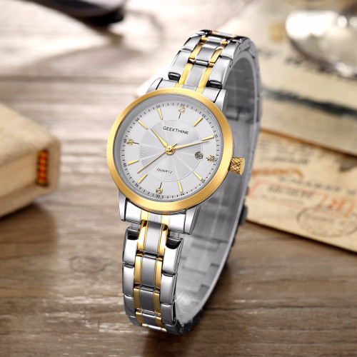 GEEKTHINK Fashion Gold Stainless Steel Quartz Watch Women Top Luxury Brand Unisex Ladies Wristwatch Lover's Gift Female clock