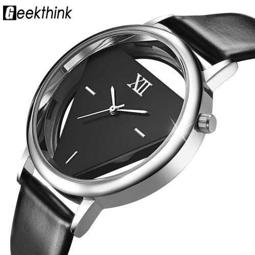 GEEKTHINK Luxury Brand Designer Unique Quartz Analog Hollow Style Woman Quartz Watch Lady Dress fashion Casual WristWatches