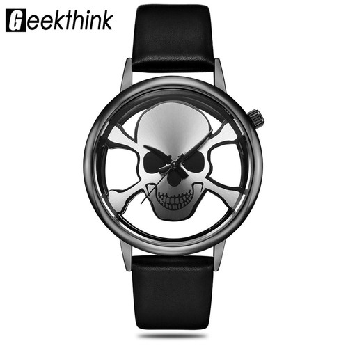 GEEKTHINK Hollow Out Style Men's Watches Skull Fashion Watches Women Quartz Clock Luxury Brand Wrsit Watch Skeleton Casual