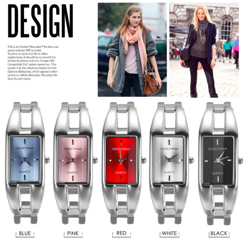 GEEKTHINK Unique Design Luxury Brand Quartz Watch Women rectangle Stainless steel band female clock Bracelet Lady Casual watch