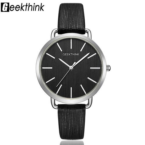 Geekthink Top Luxury brand Fashion Quartz Watches Women Silver Wristwatch Simple Casual Leather Ladies Dress Clock Female New