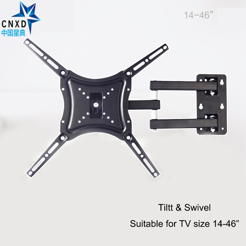 "Retractable TV Wall Mount Full Motion Bracket Wall Stand Adjustable Mount Arm Fit for Plasma Flat LED TV 14""-46"" Support 25KG"