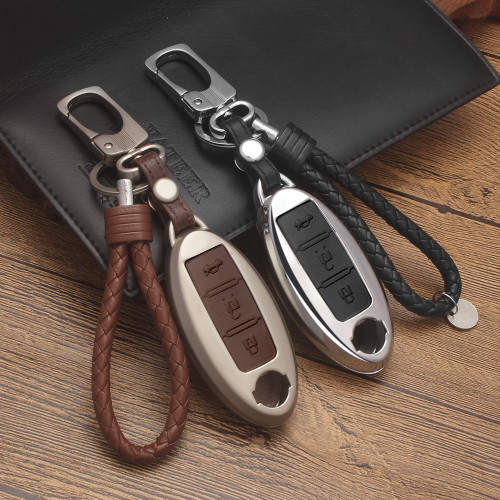 Zinc alloy+Leather Car Remote Key Cover Case For Nissan Qashqai J10 J11 X-Trail t31 t32 kicks Tiida Pathfinder Murano Note Juke