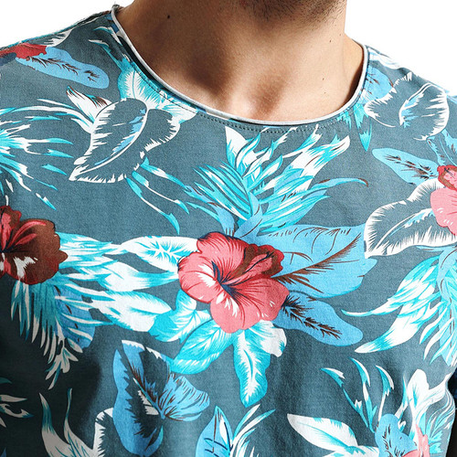 SIMWOOD 2018 Spring Summer Hawaiian  T Shirts Men 100% Pure Cotton Brand Clothing Print  Tees Plus Size Slim Fit TD1168