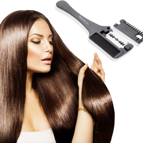 Brainbow 1pc Super Hair Razor Comb Black Handle Hair Razor Cutting Thinning Comb Home DIY Trimmer inside with Blades Hair Brush