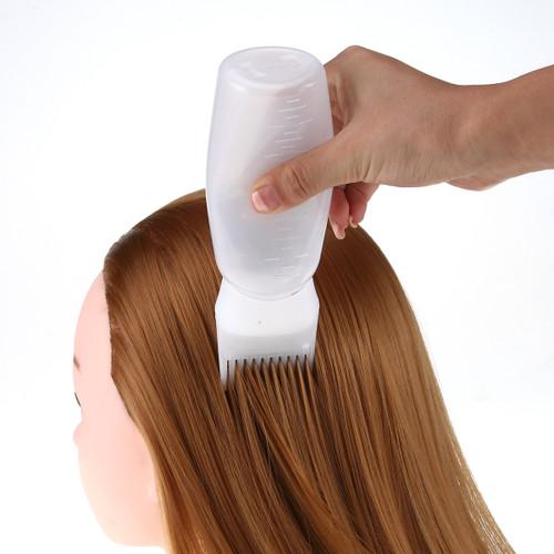 120ml Plastic Hair Coloring Dye Filling Bottles Applicator with Graduated Brush Dispensing Kit Salon Hair Dyeing Styling Tools