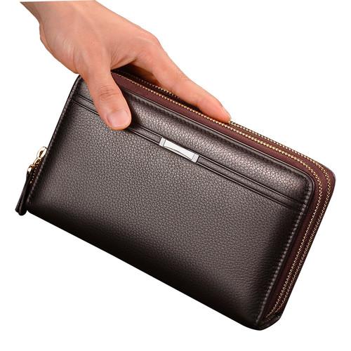 FEIDIKABOLO Double Zipper Men Clutch Bags PU Men's Leather Wallet Men Handy Bag Male Long Wallets Man Purses Carteira Masculina