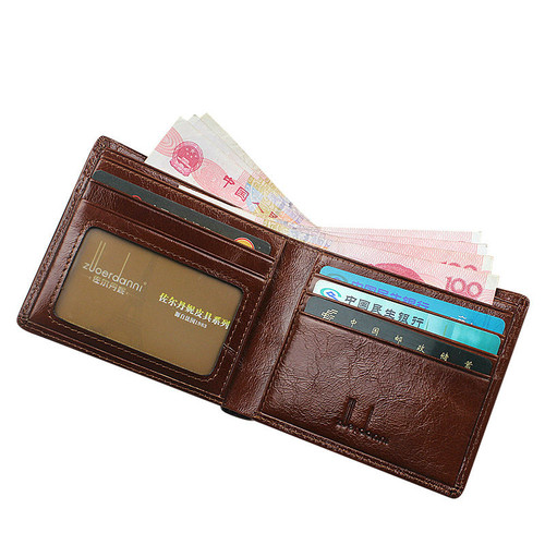 Short Wallets Men Ultra Thin Wallet Genuine Leather Purse Vintage Solid Purses Mens Slim Card Bags High Quality Free Shipping