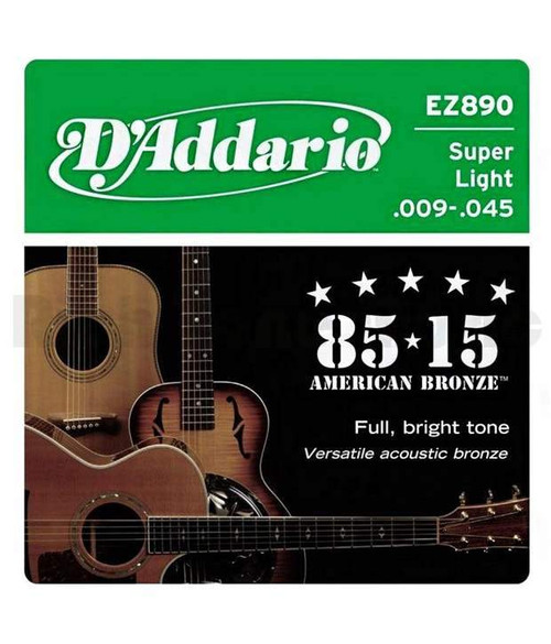 D'addario Ez890 Acoustic Guitar Strings, 85/15 Bronze .009-.045 (DRDO-EZ890)