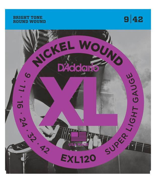 "D""Addario EXL120 Nickel Wound, Super Light, 9-42 (DRDO-EXL120)"