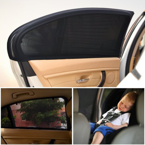 2Pcs 98*50 cm Window Sun Shade black Mesh Cover Child UV Protector Shield for most Car Auto Car Side Rear Window Sun Shade New