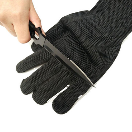ZK20 1/Pair Black Working Safety Gloves Cut-Resistant Protective Stainless Steel Wire Butcher Anti-Cutting Gloves