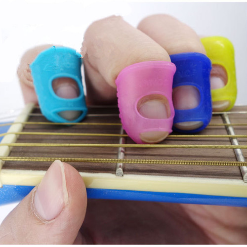 5pcs Silicone Guitar Thumb Finger Picks Protector Plectrum Fingertip thimble Finger Guard safety protect caps Colors Random