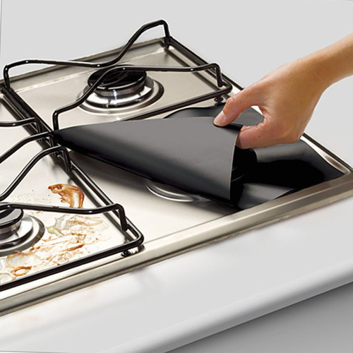 4Pcs/set Black Reusable Foil Gas Hob Range Stovetop Burner Protector Liner Cover For Cleaning Kitchen Tools