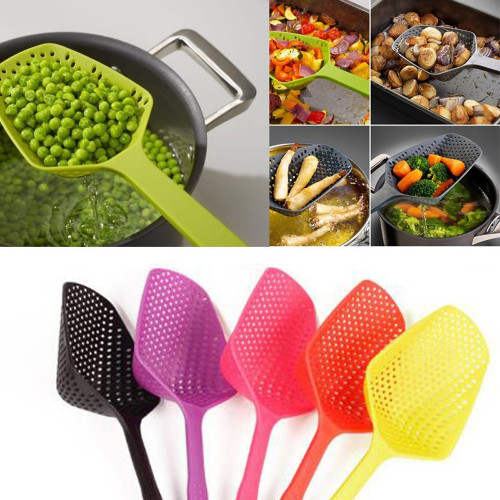 2018 Multicolor Kitchen High temperature resistance Large Scoop Colander Pasta Heat Resistant Strainer Big spoon Convenient#YY