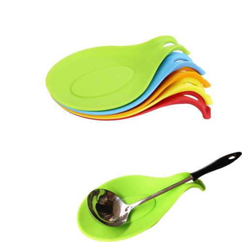 3040# Silicone Heat Resistant Spoon Fork Mat Rest Utensil Spatula Holder Kitchen Tool Random Color