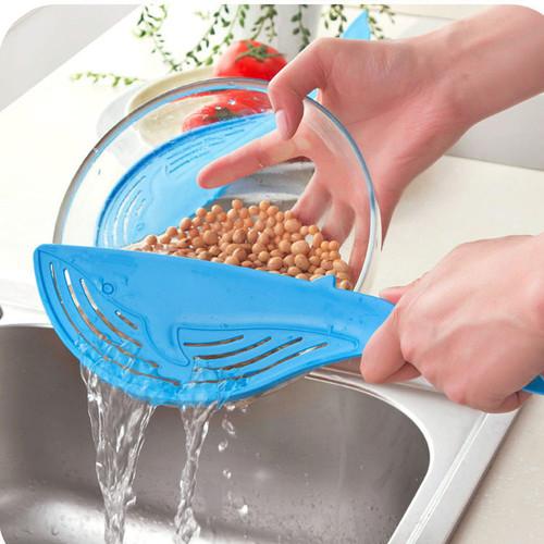 Creative Whale Shaped Plastic Pot Strainer Rice Fruit Vegetable Wash Colanders Kitchen Gadgets Accessories