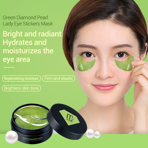 BAIMISS Green Diamond Pearl Lady Eye Mask 60pcs Anti Ageless Anti Wrinkle Remove Eye Bags Dark Circles Eye Patches Skin Care