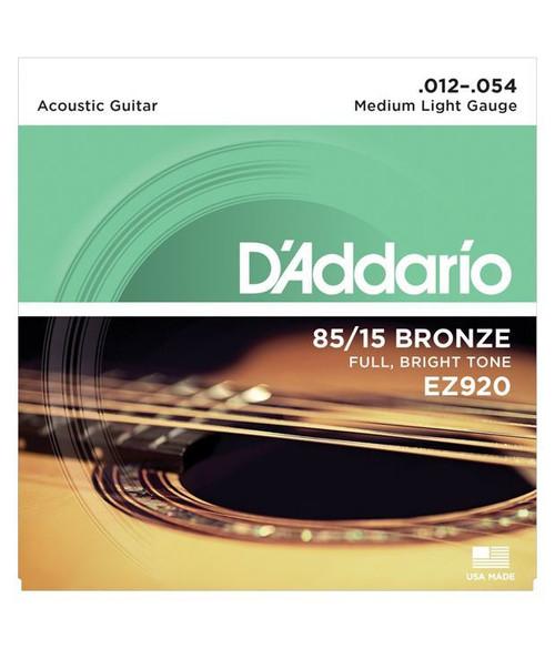 D'Addario EZ920 85/15 Bronze Medium Light Acoustic Guitar Strings (DRDO-EZ920)