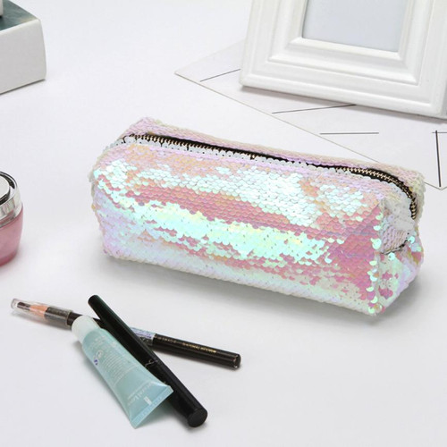 Cosmetic Bag 2018 Girls Boys Pencil Bags Unisex Fashion High Quality Double Color Makeup Pouch Women Men's Sequins Pencil Bags